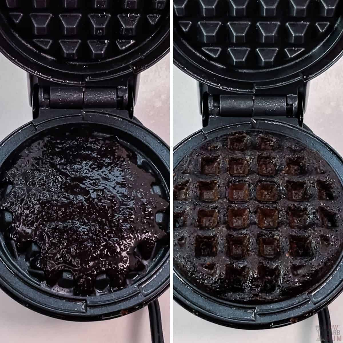 cooking the oreo chaffles in mini waffle maker