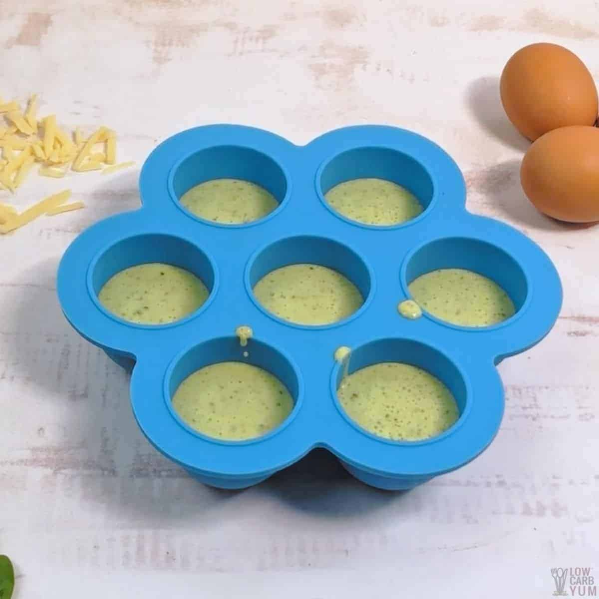 filled silicone egg bite mold