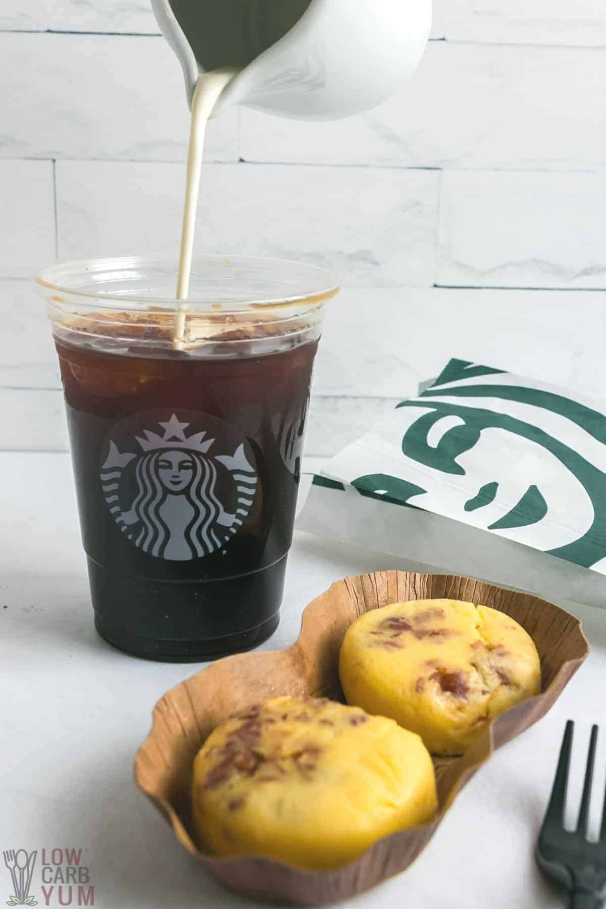 keto starbucks coffee drink with food