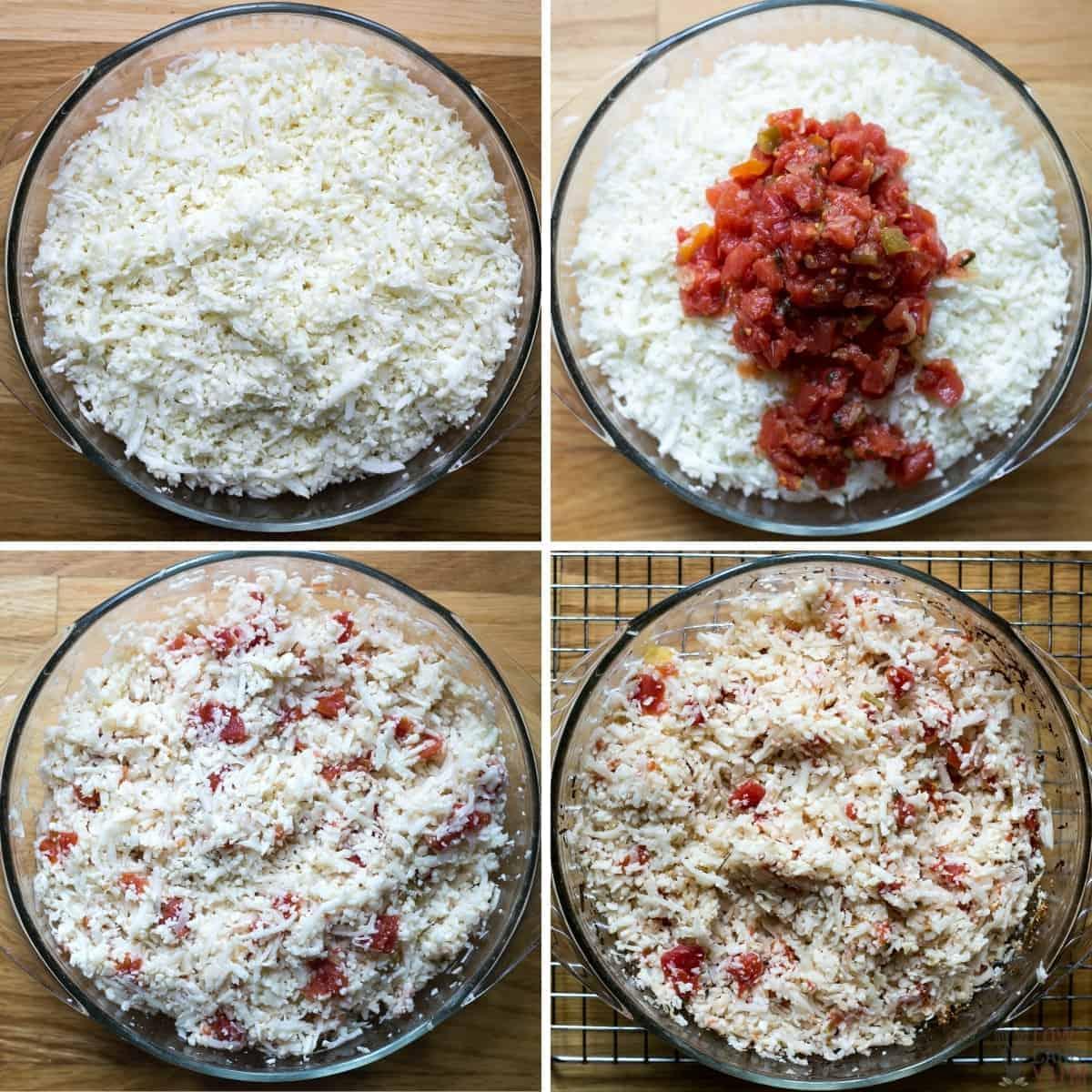 preparing the mexican cauliflower rice recipe