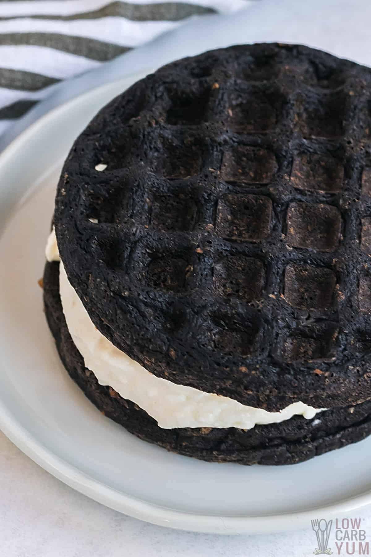 closeup of oreo chaffle on white plate