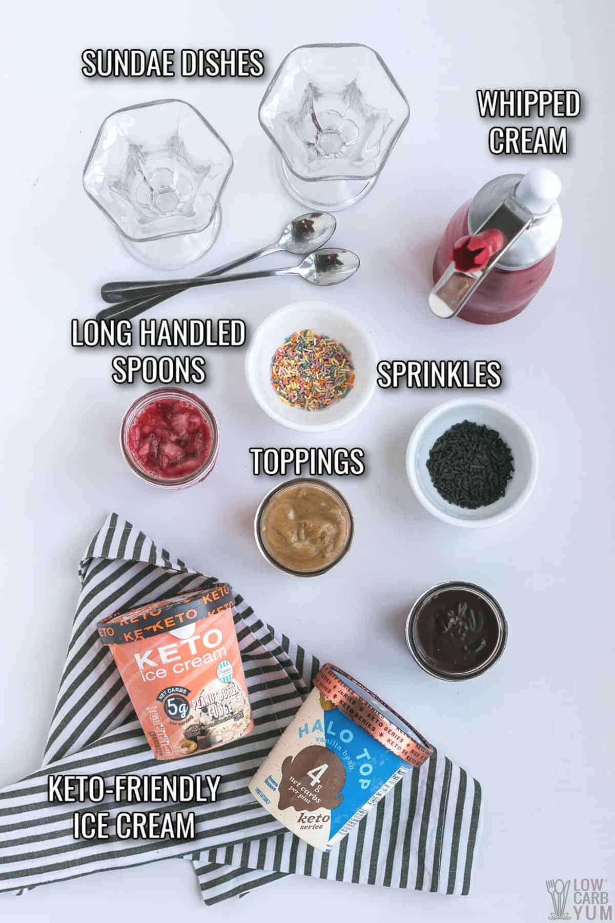 perfect ice cream sundae ingredients and tools