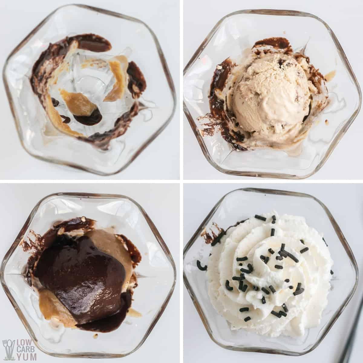 steps for hot fudge peanut butter sundae