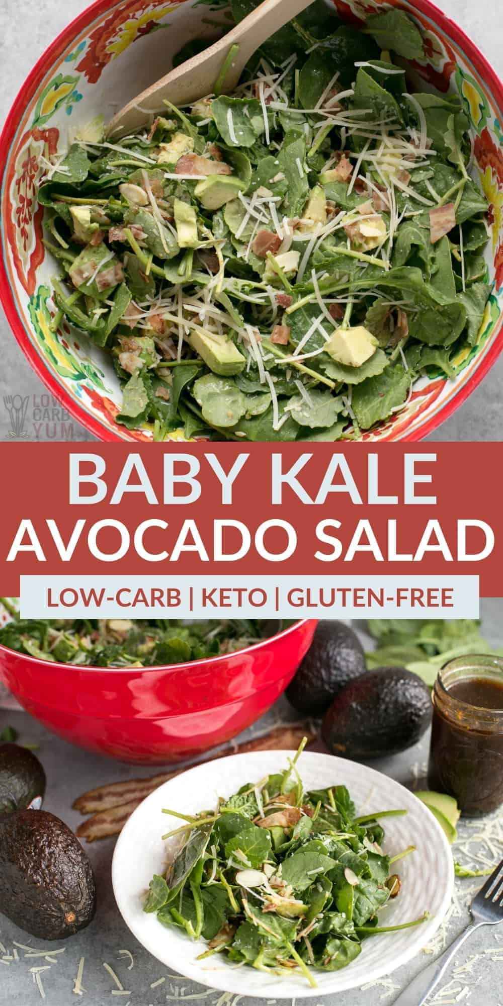 baby kale avocado salad pinterst image
