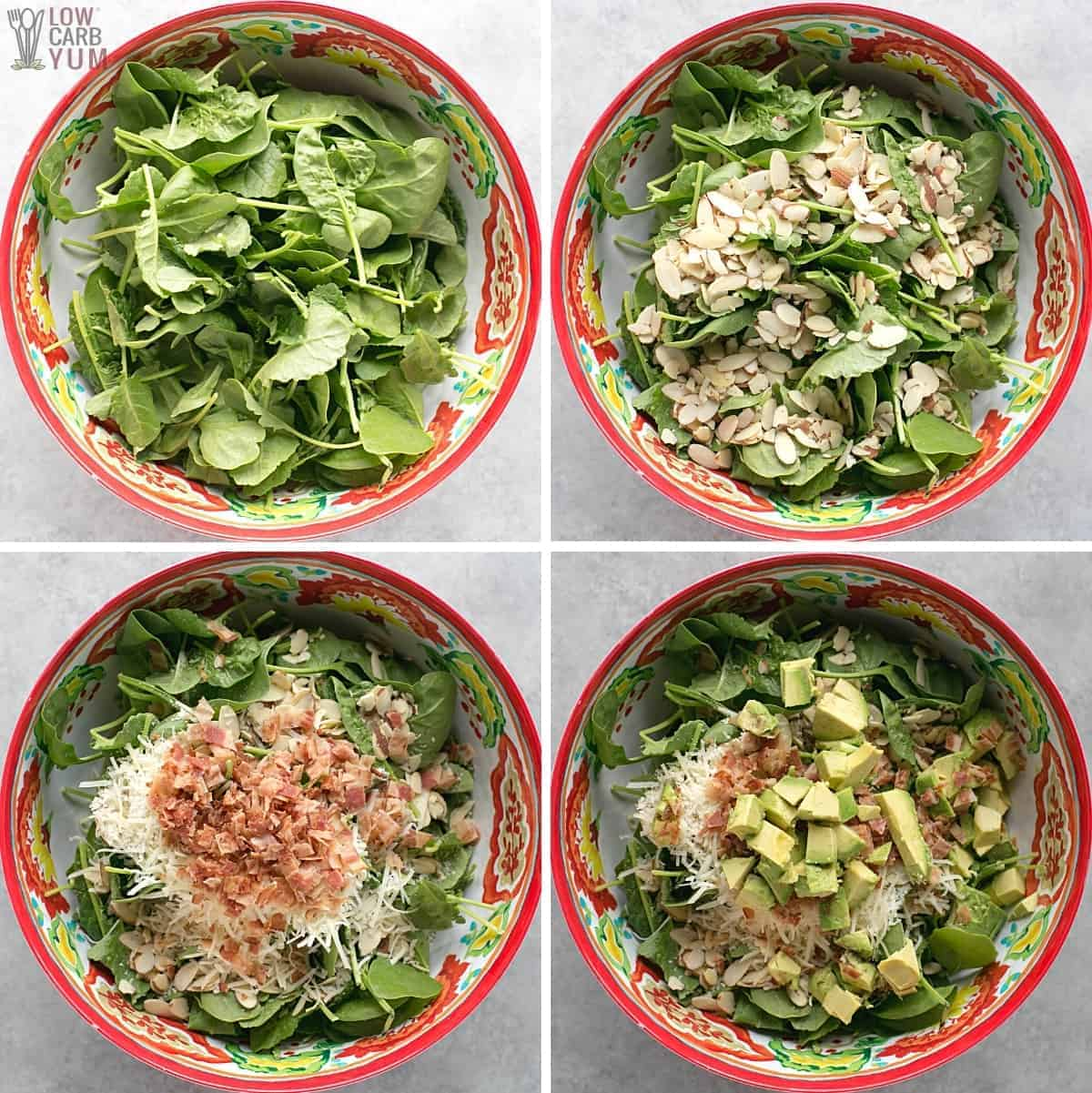 baby kale avocado salad preparation in mixing bowl