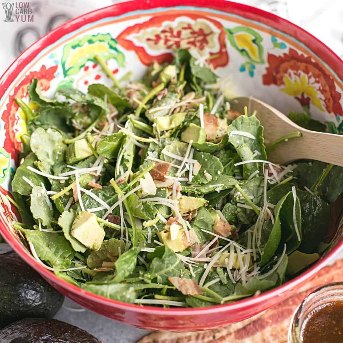 baby kale avocado salad featured image