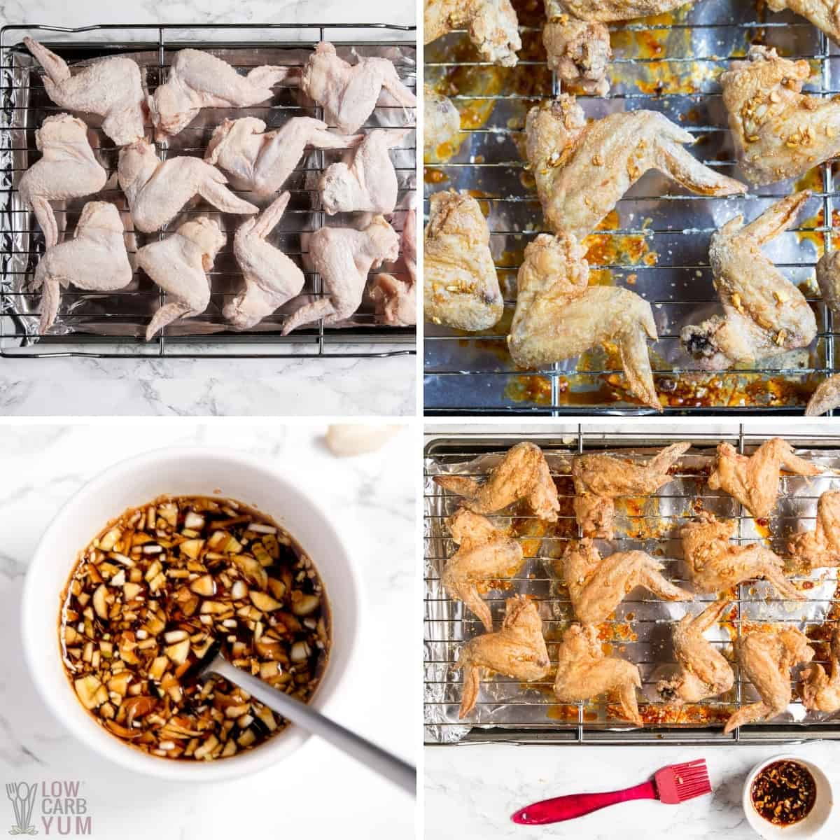 recipe steps for baking and basting wings
