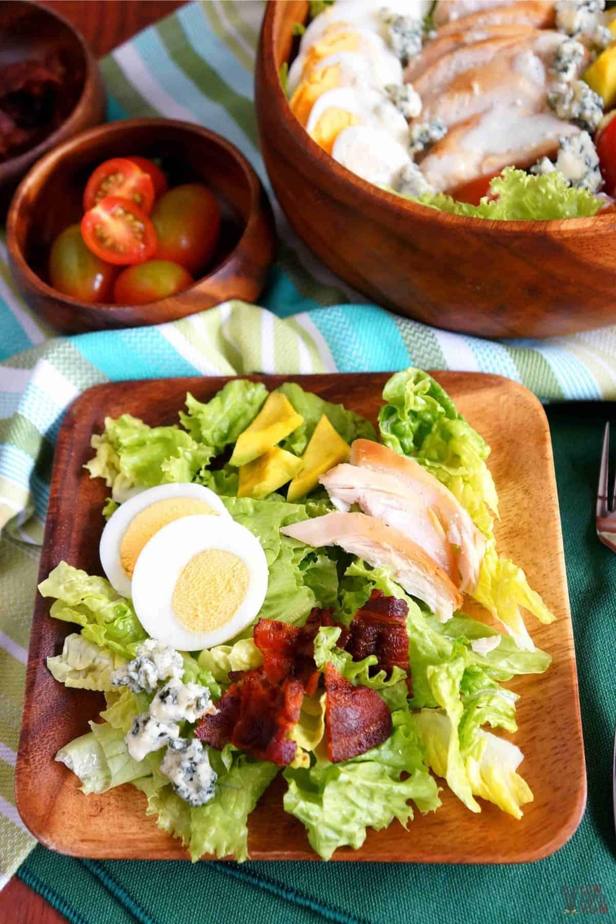 keto cobb salad on square wood serving plate