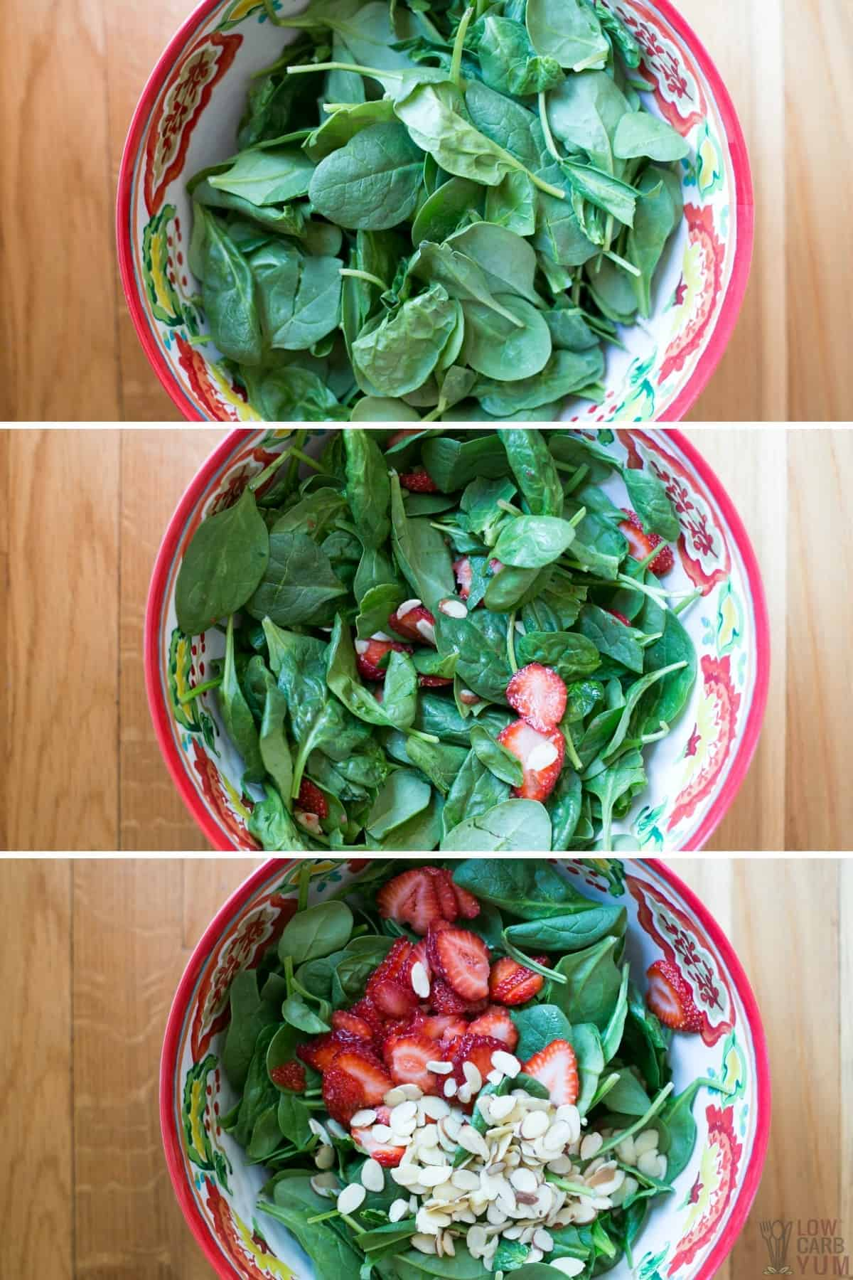 assembling the salad in a large bowl
