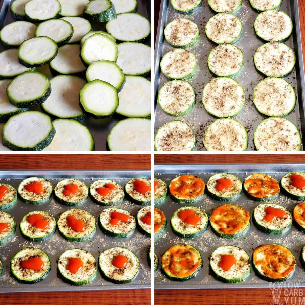 zucchini pizza bites recipe initial steps