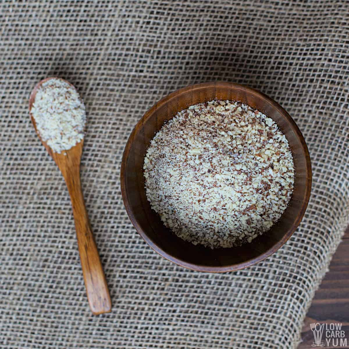 almond meal in bowl and spoon