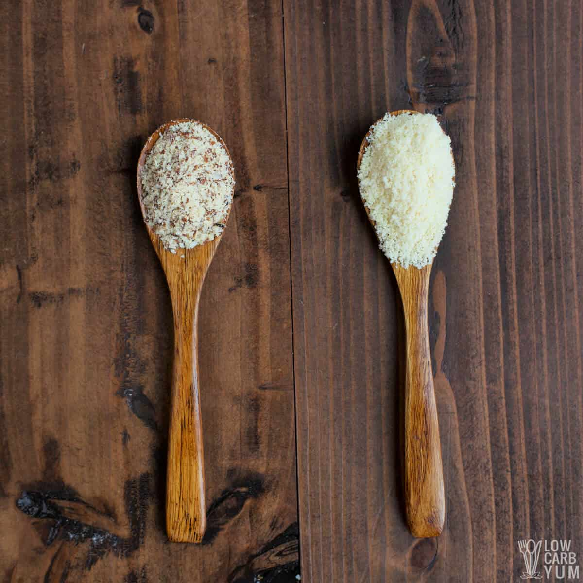 almond meal and almond flour in wood spoons