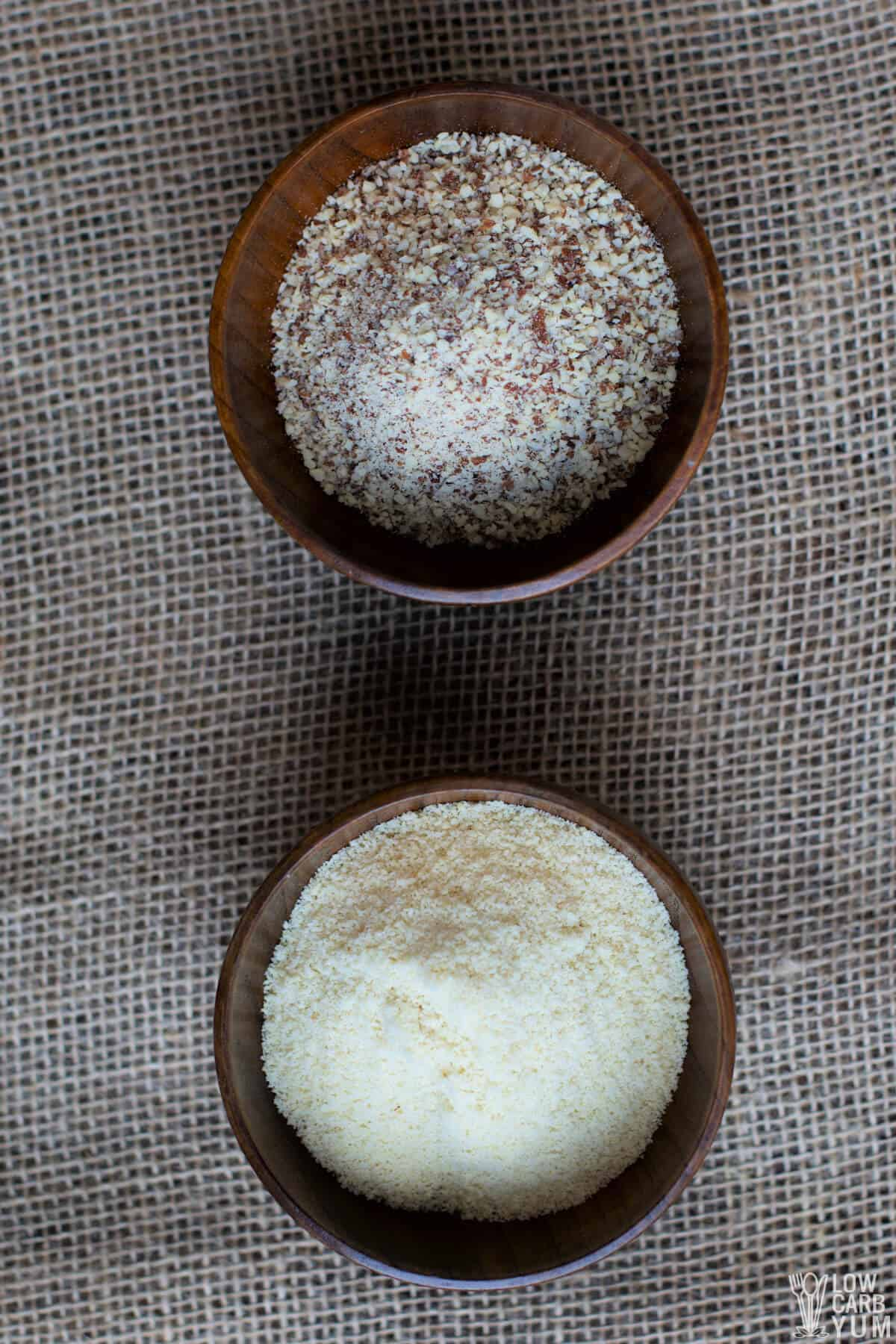 almond meal and almond flour in wood bowls