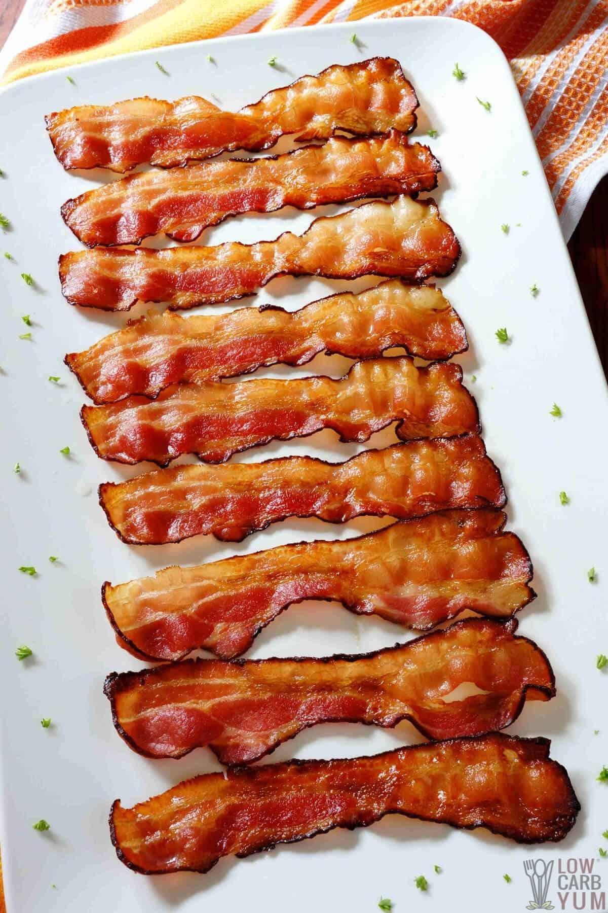 baked bacon on platter