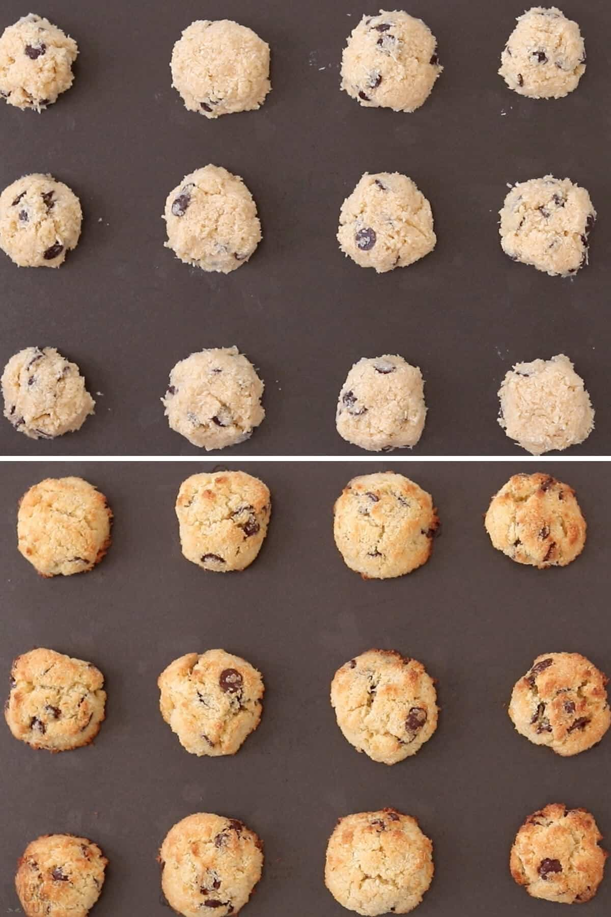 baking the cookie dough scoops