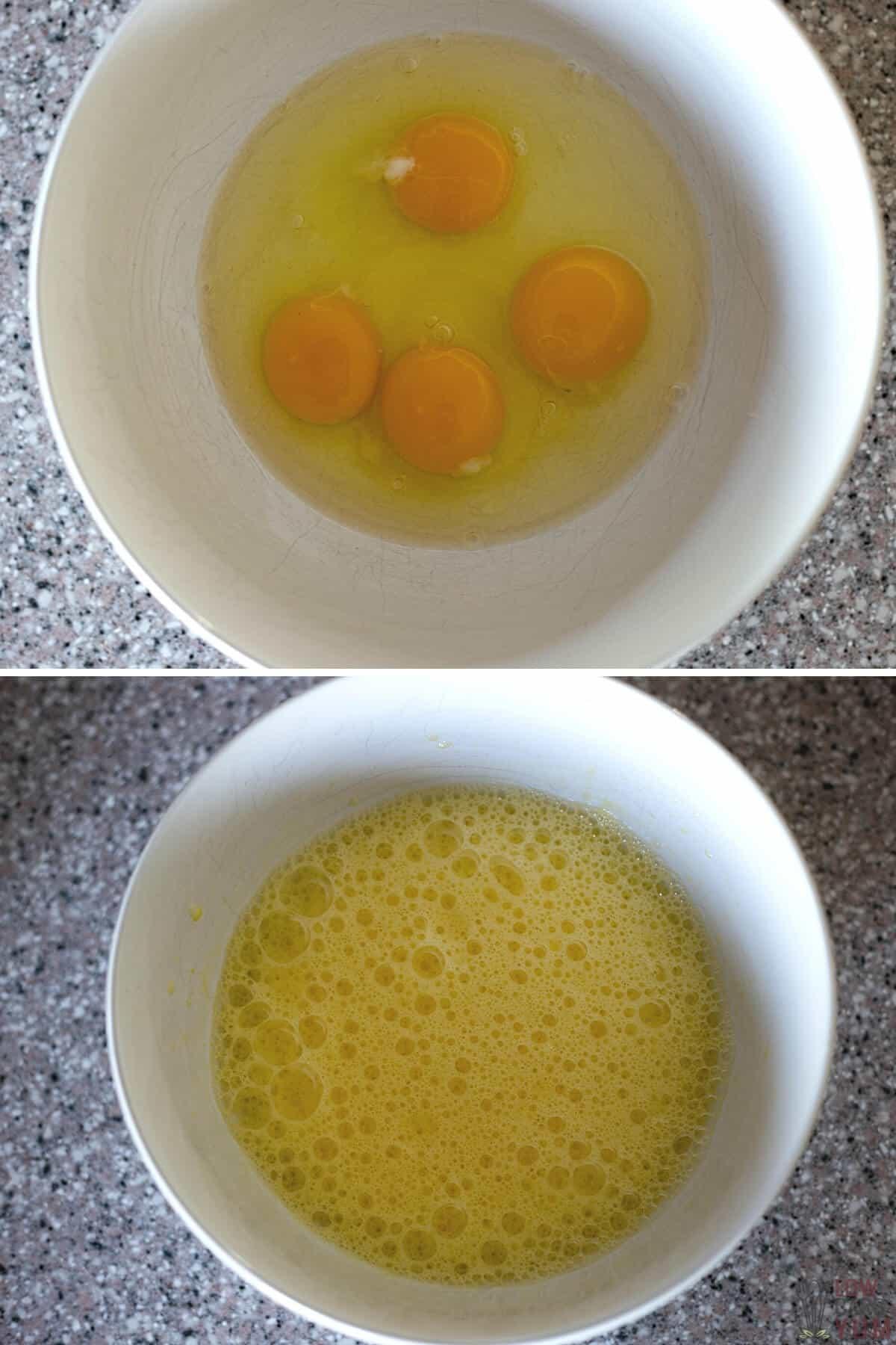 beating eggs for squash bread batter
