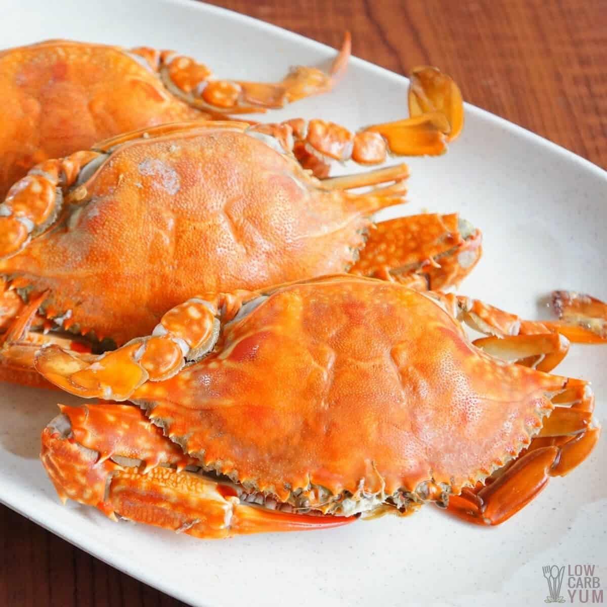 boiled crabs on platter