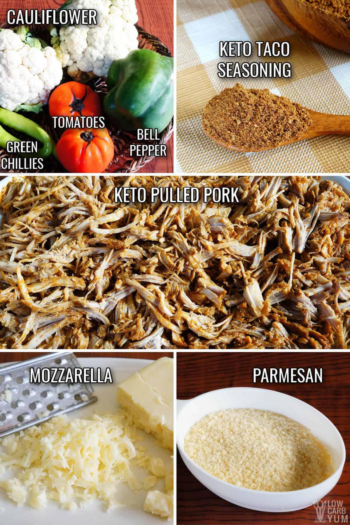 ingredients for the keto nachos