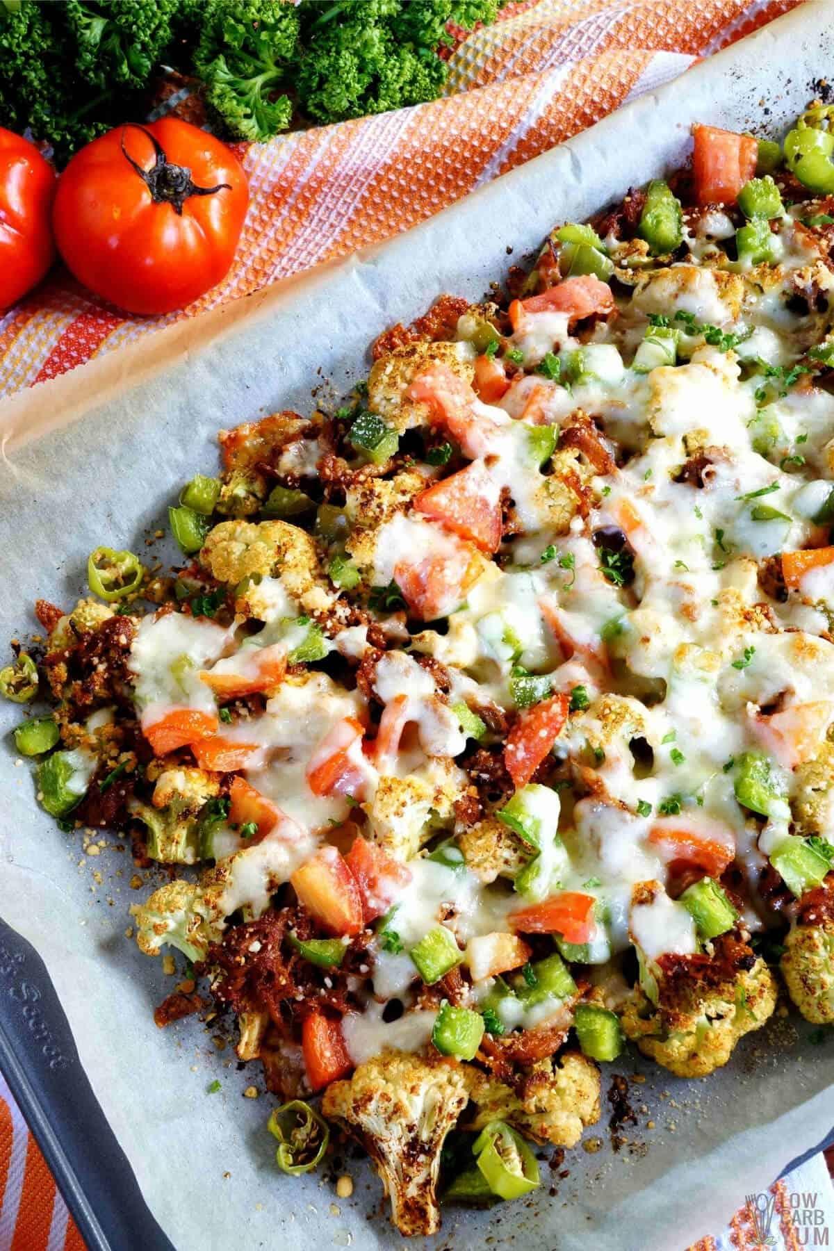 serving cauliflower pulled pork nachos