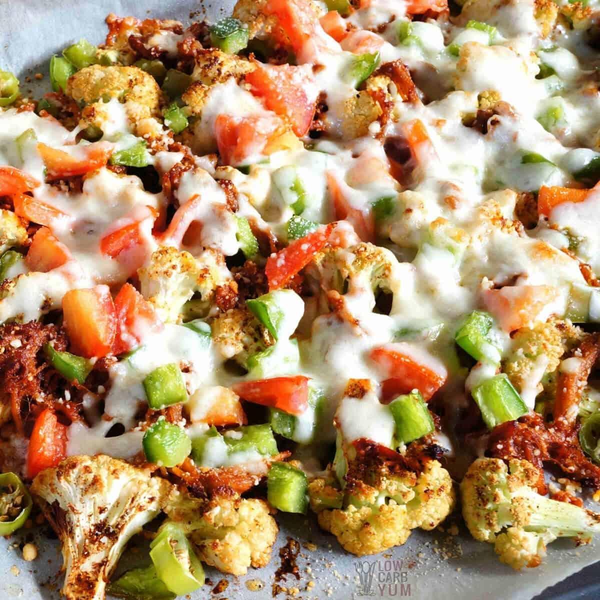 cauliflower pulled pork nachos featured image