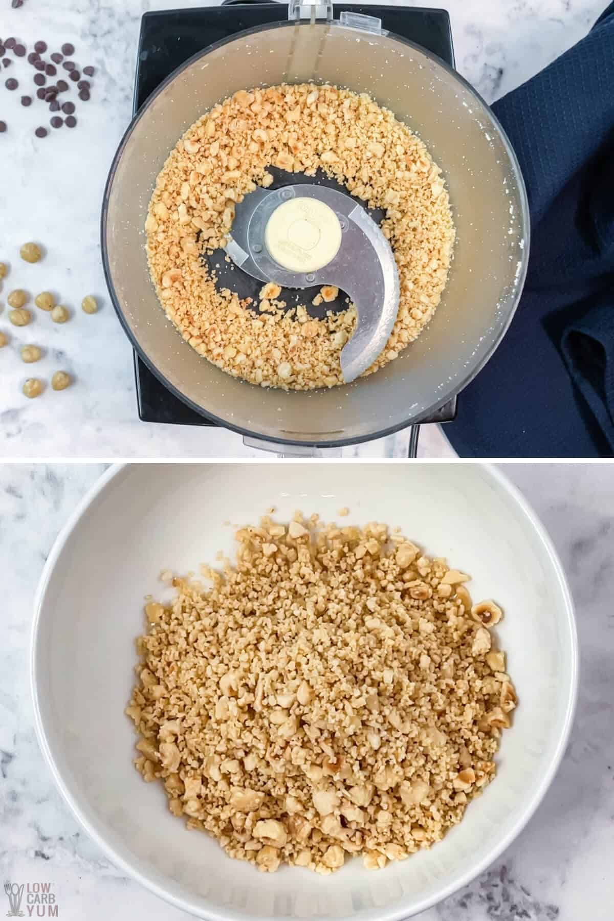 chopped hazelnuts in food processor and white bowl