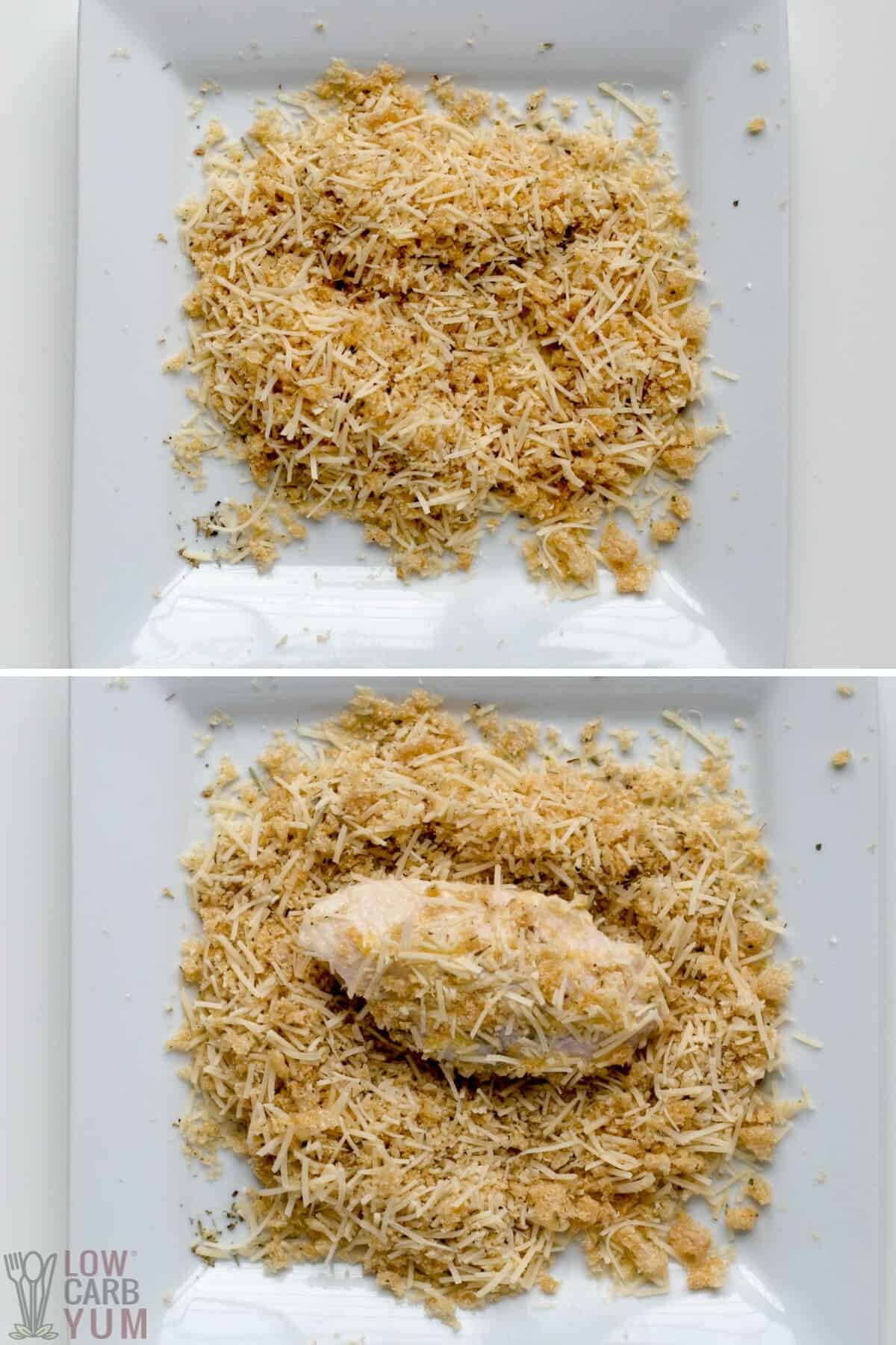 adding the garlic parmesan coating to chicken wings