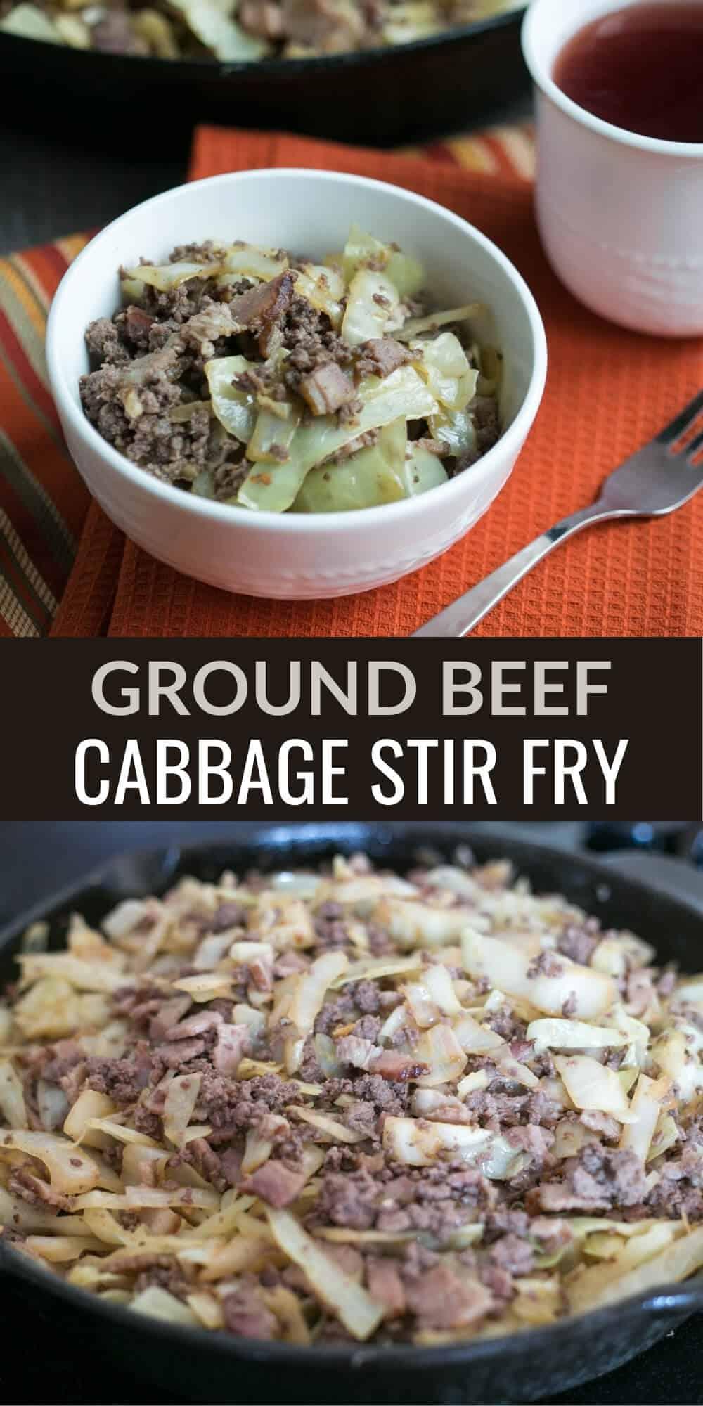 ground beef cabbage stir fry pinterest image