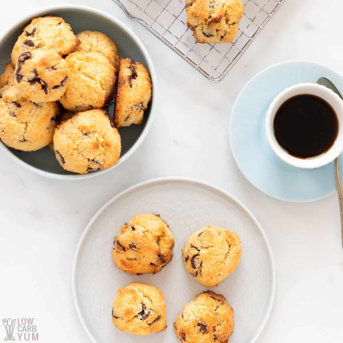 keto coconut chocolate chip cookies featured image