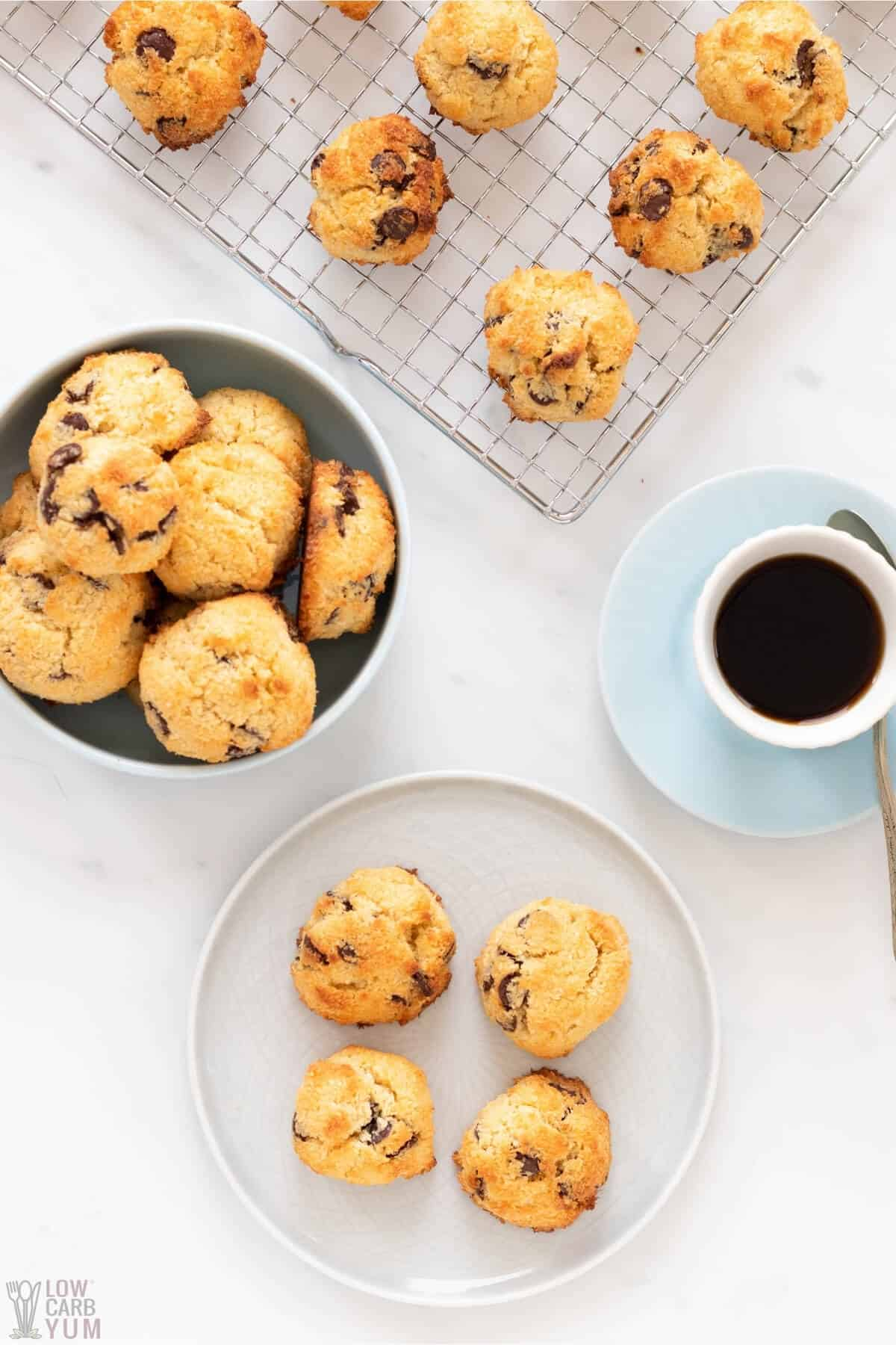 low carb coconut chocolate chip cookies with coffee