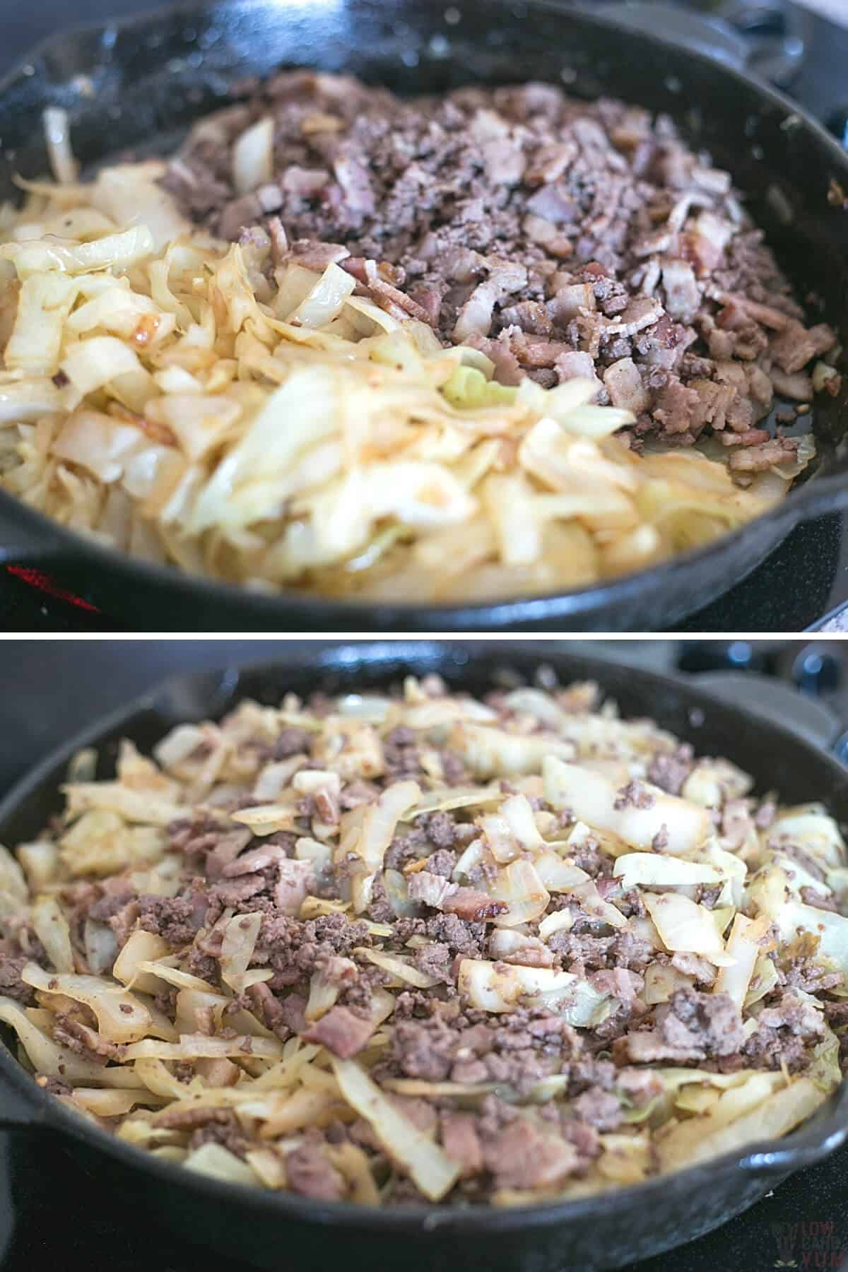 stir frying ground beef and cabbage in pan