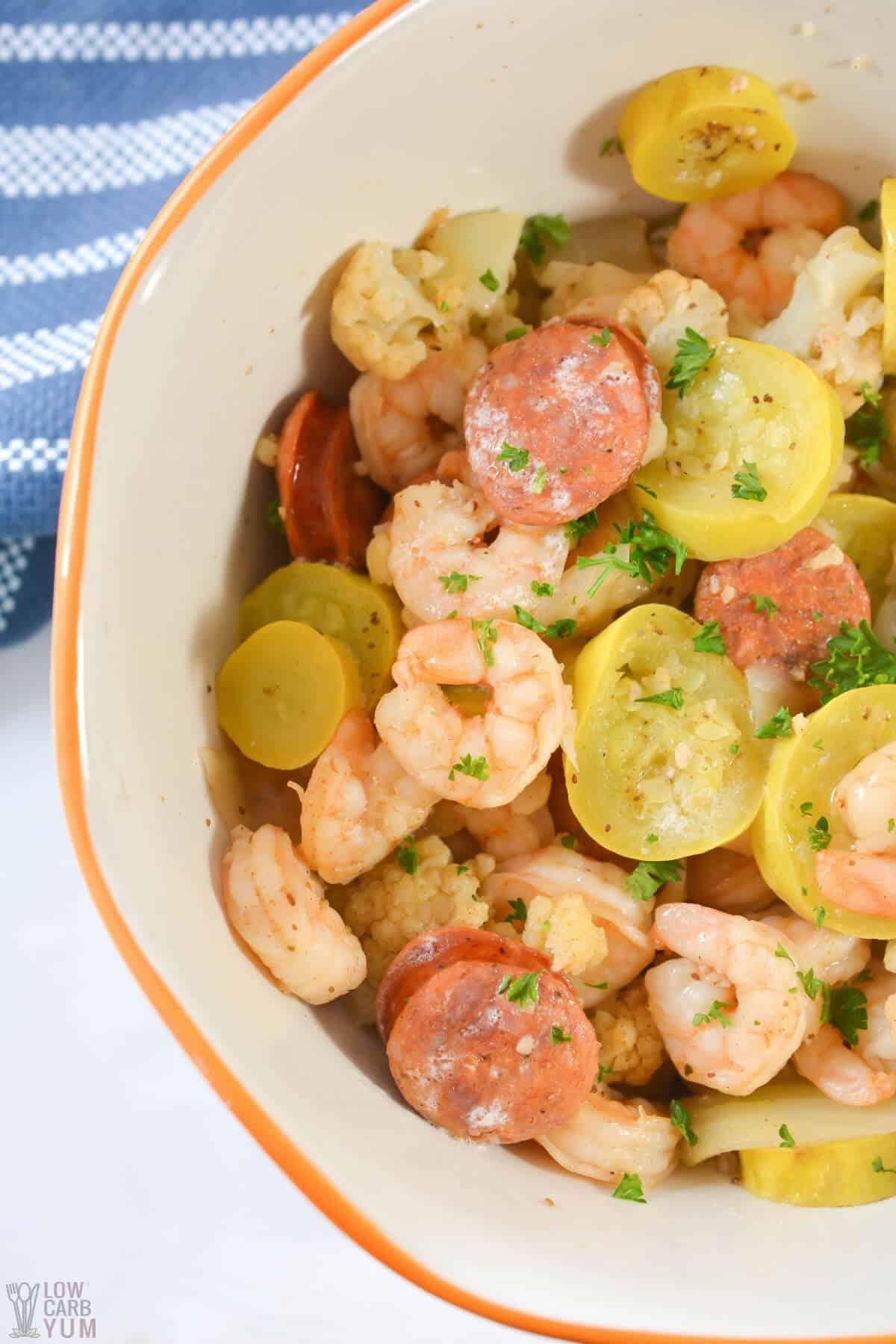 shrimp boil in bowl closeup