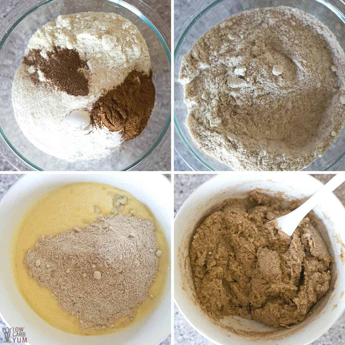 adding dry ingredients to egg mixture