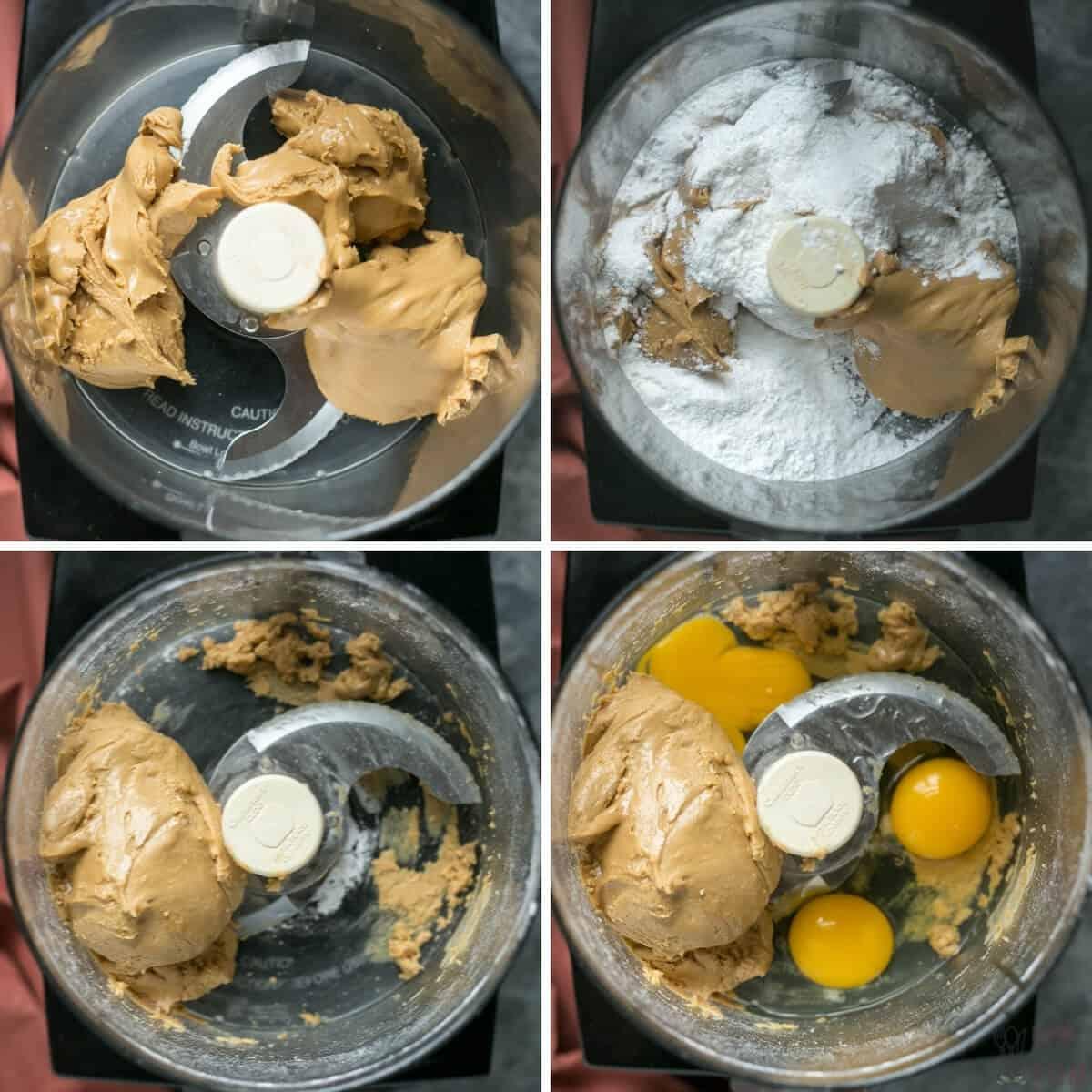 preparing the brownie batter in food processor