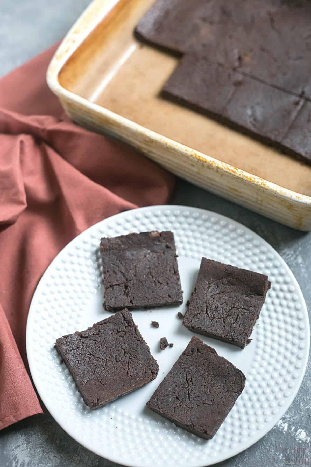 5 ingredient brownies on white plate