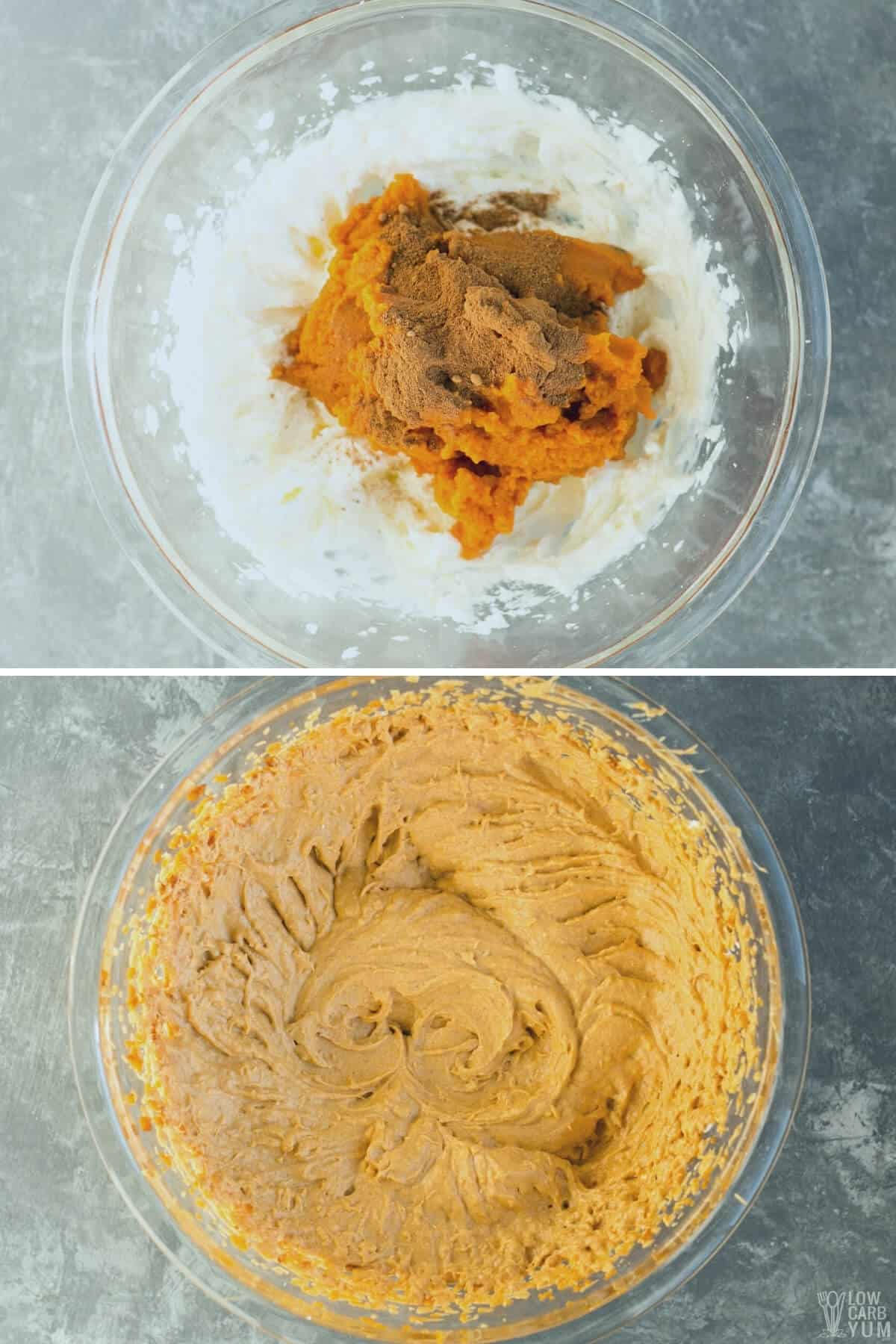 adding pumpkin and spice to sweetened cream cheese