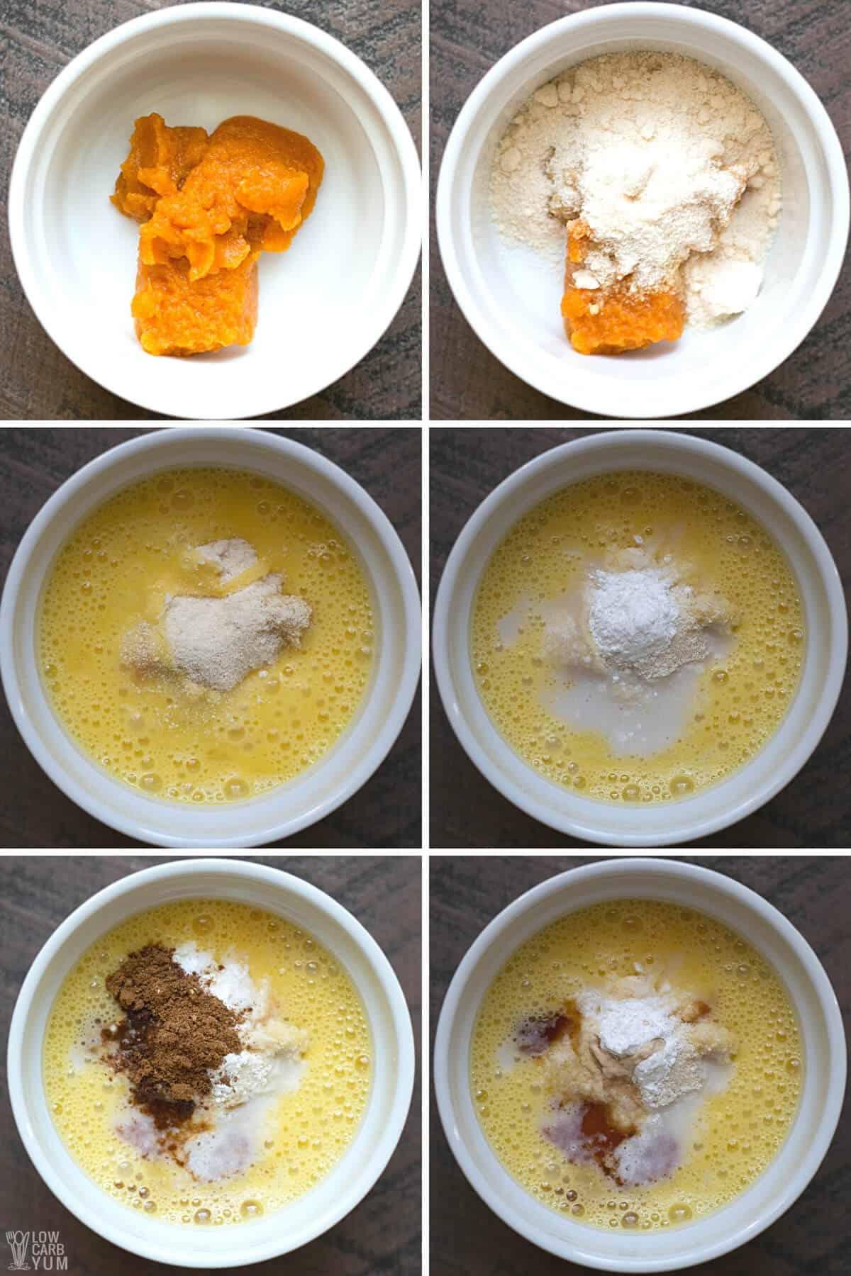 adding ingredients to ramekin