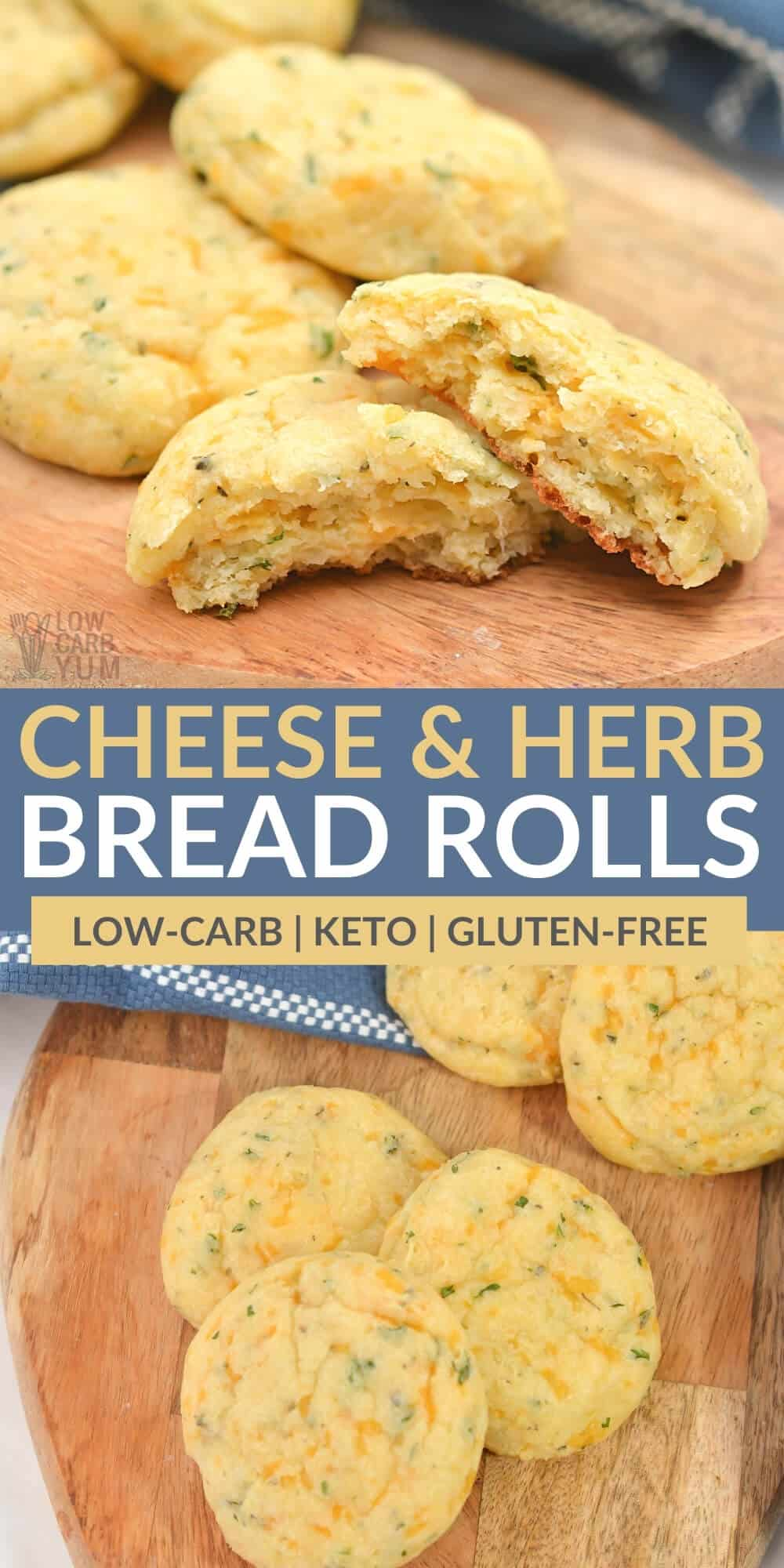 cheese and herb bread rolls pinterest image
