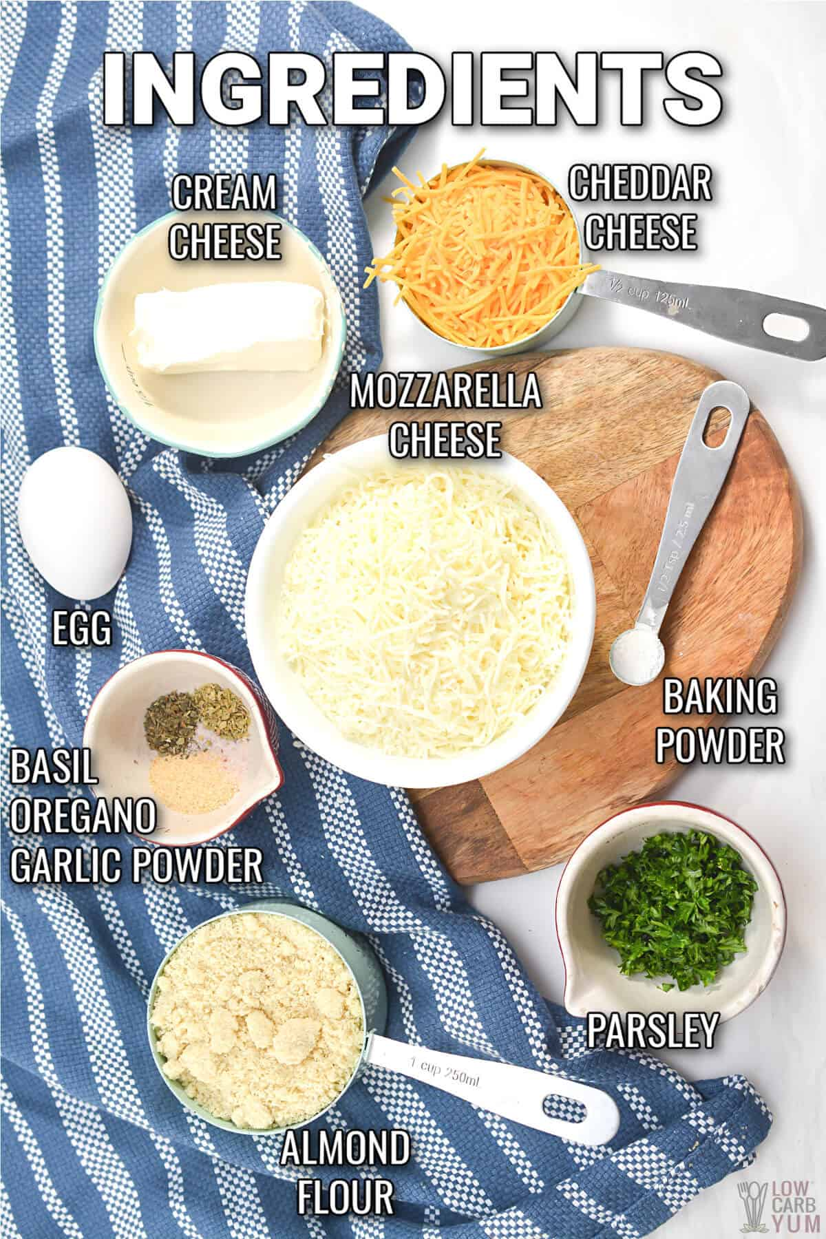 ingredients used for cheese and herb keto rolls