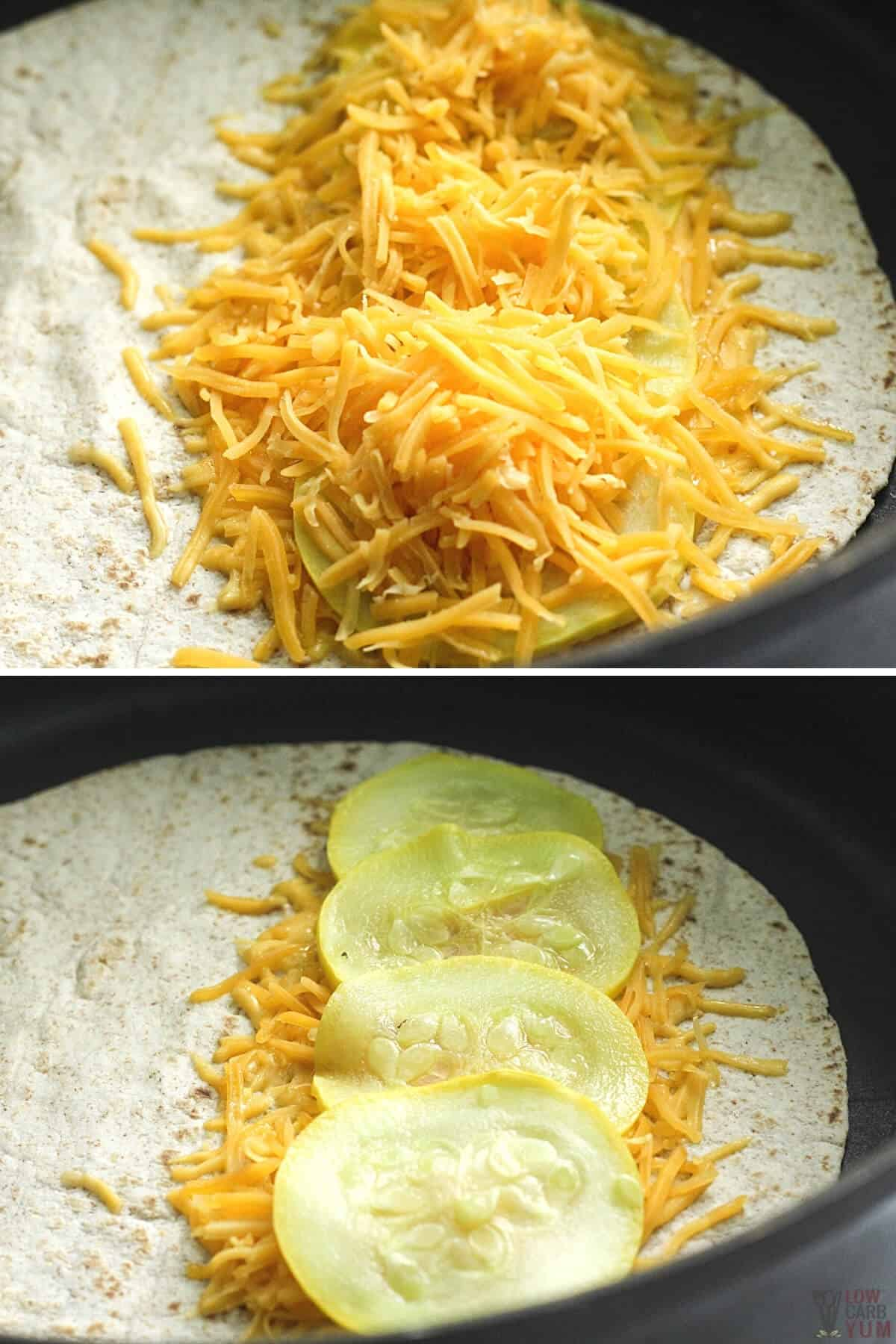 cheese and squash in a tortilla