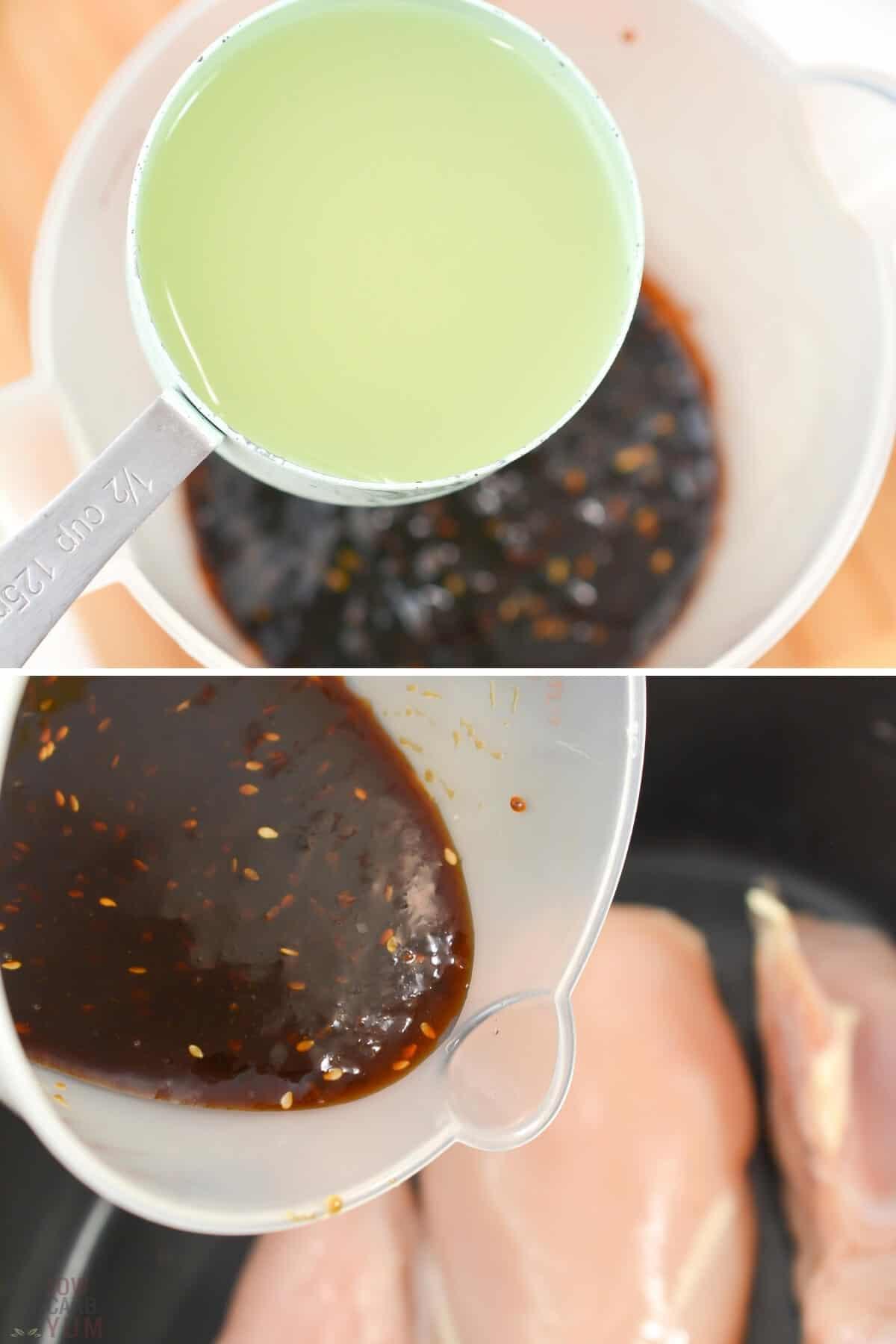 combining broth and teriyaki sauce