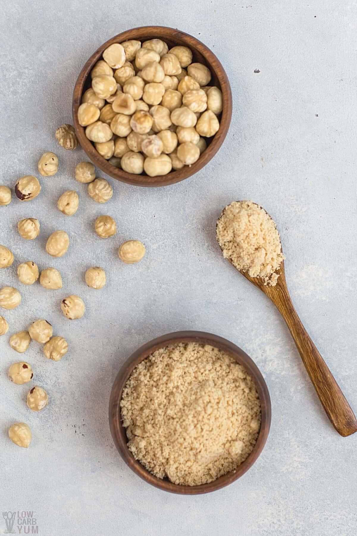 hazelnut nuts flour bowls spoon