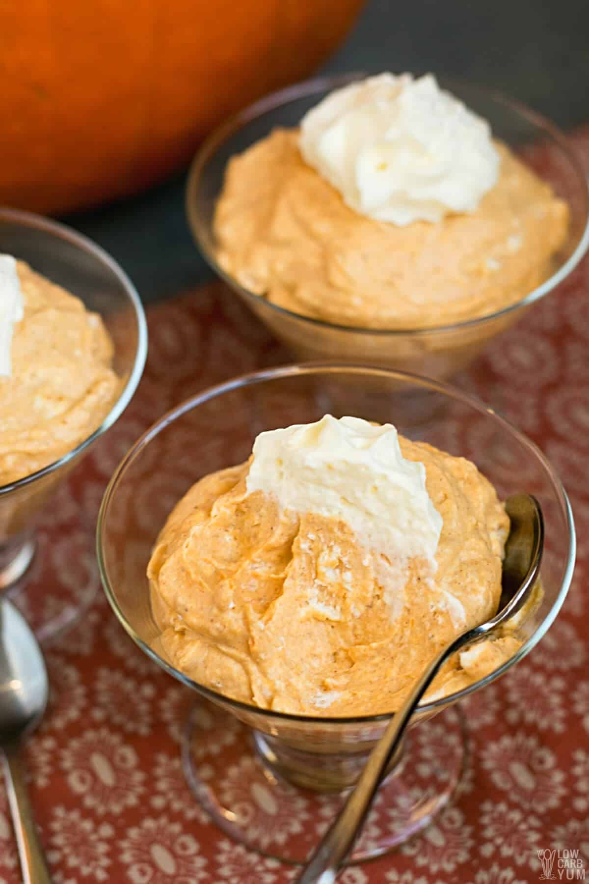keto pumpkin mousse with spoon bite