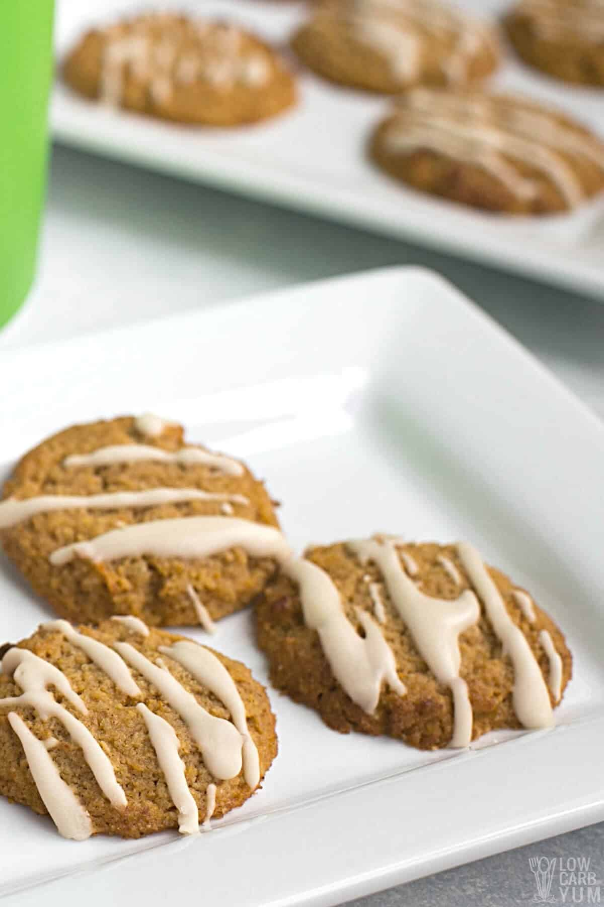 pumpkin cookies without eggs on white plates
