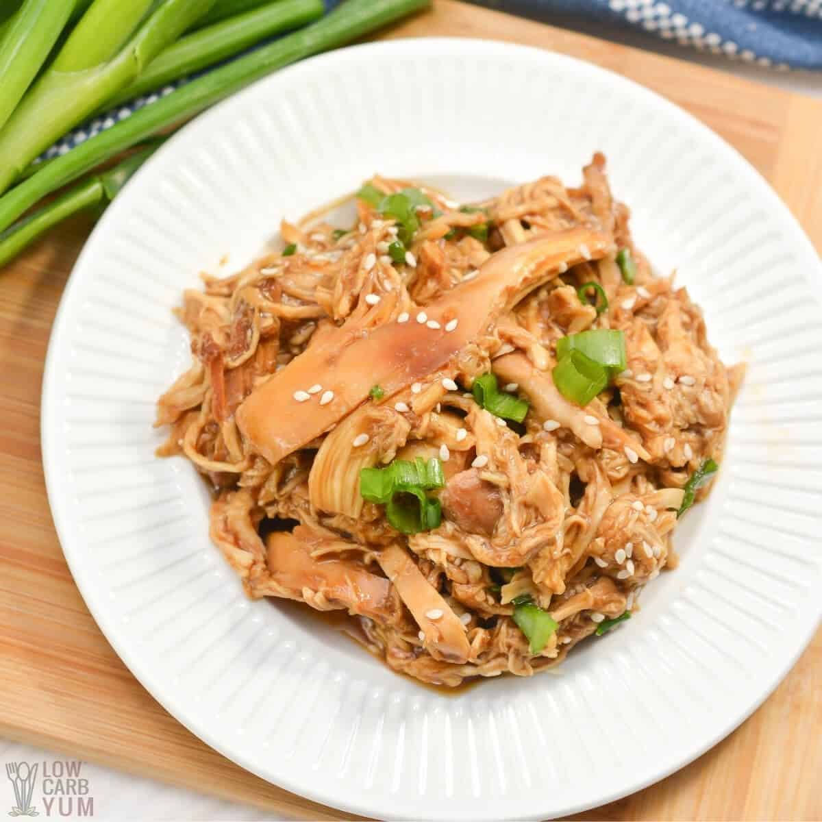 shredded crock pot teriyaki chicken featured image