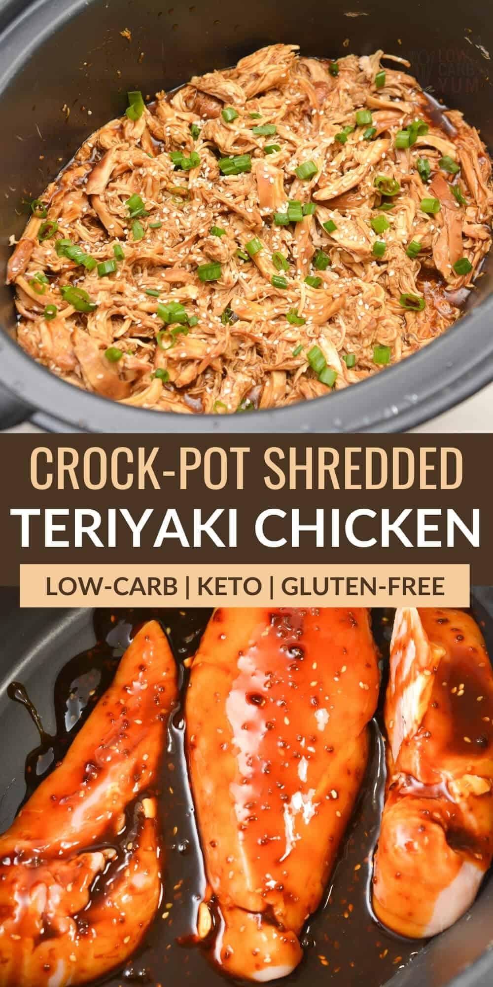 crock pot shredded teriyaki chicken pinterest image