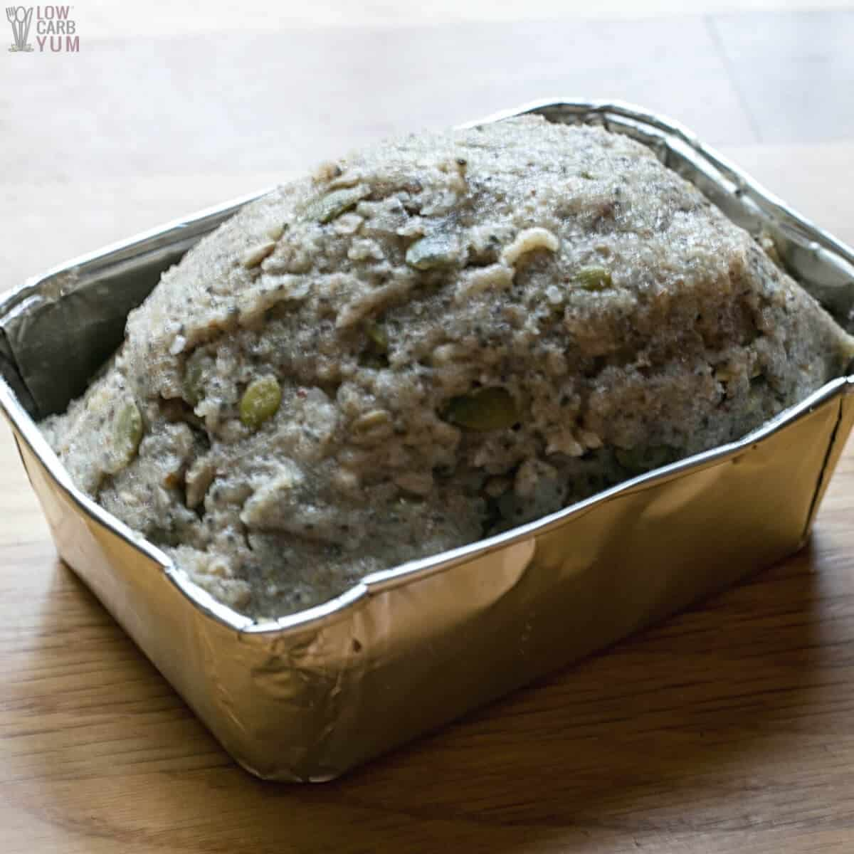 bread batter in small loaf pan