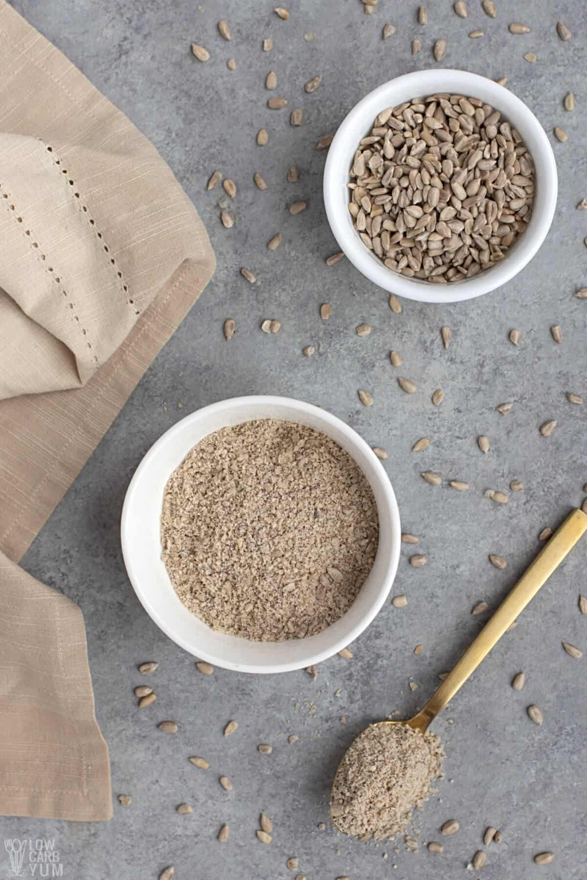 flour and sunflower seeds in bowls