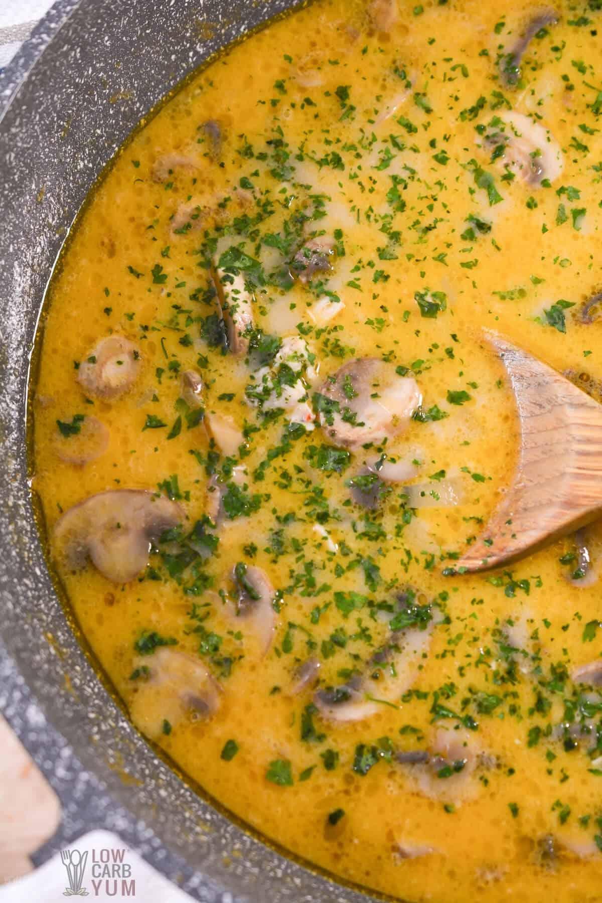 thai coconut soup in pan