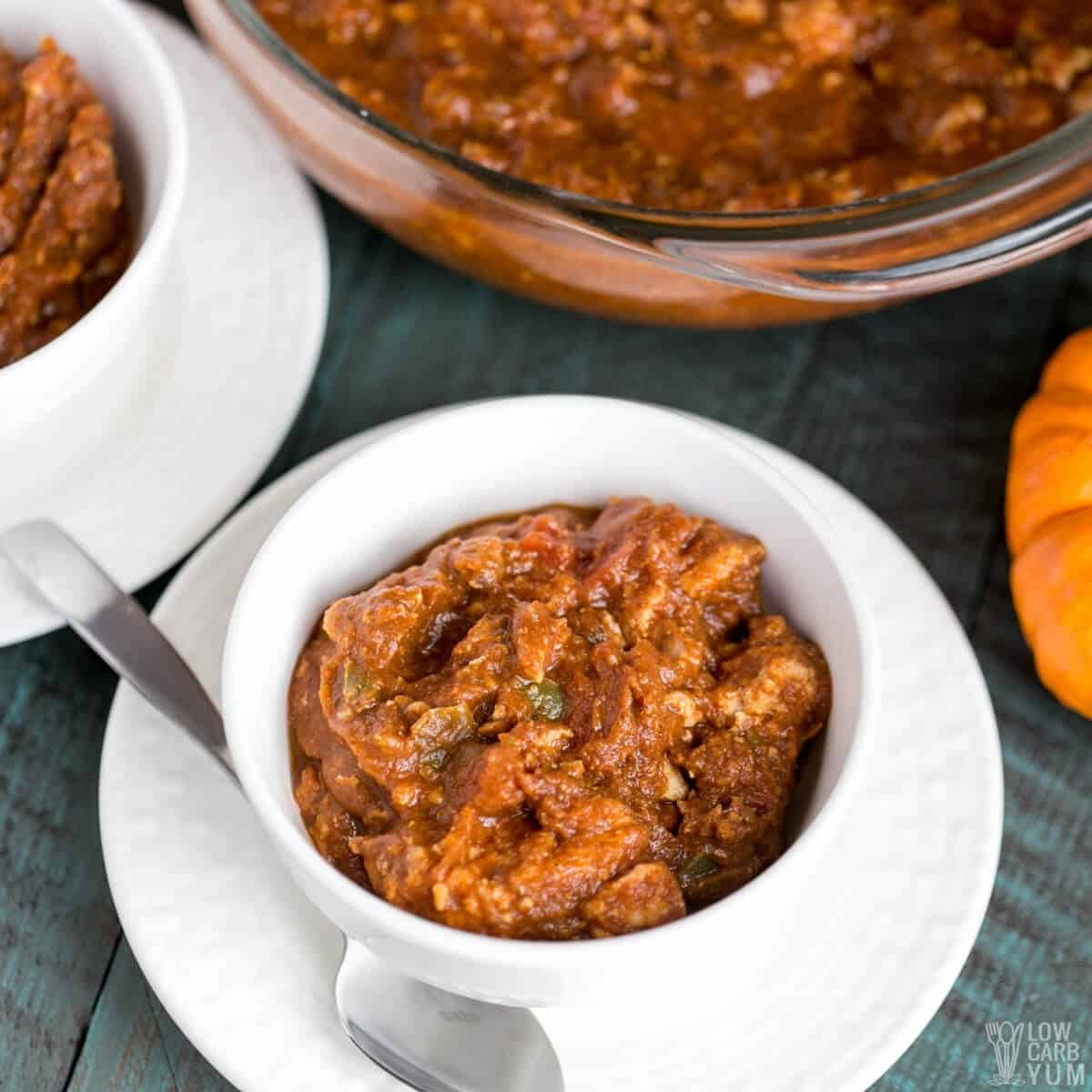 turkey pumpkin chili in white serving bowl
