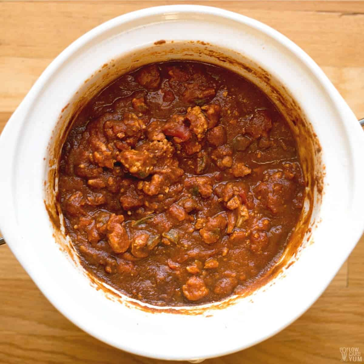 turkey pumpkin chili after cooking in slow cooker